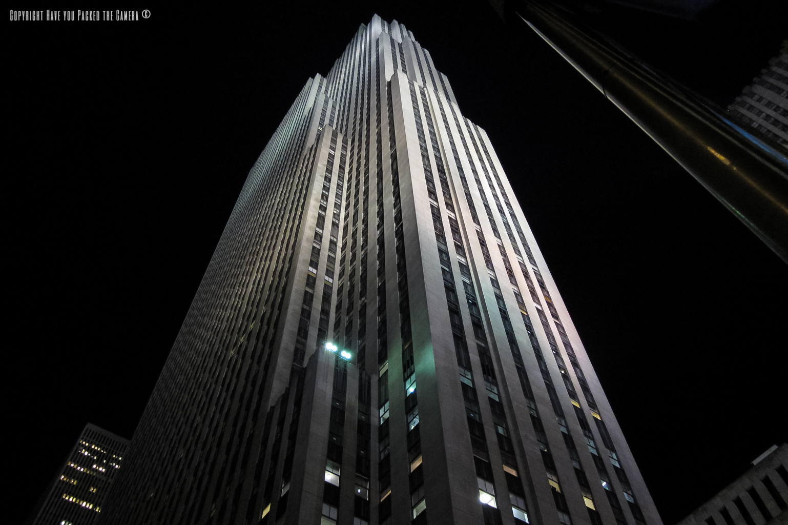 the rockefeller centre and ge building manhattan island new york ge building lit up at night