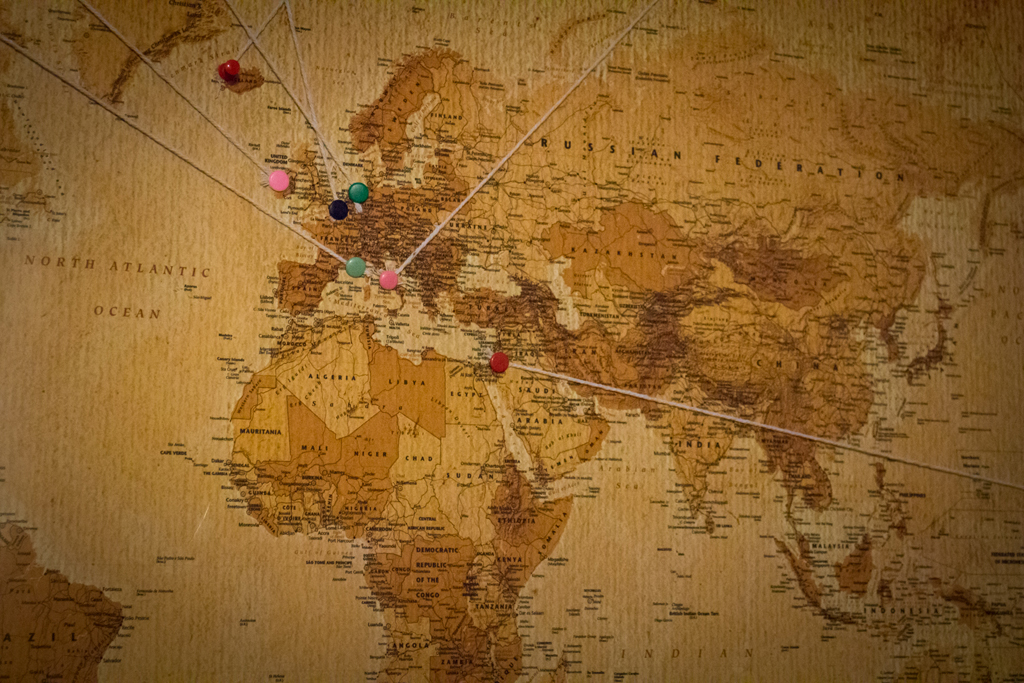 Creating a cork board travel map with photos lots more pins to add in you can develop the map at your leisure gumiabroncs Choice Image