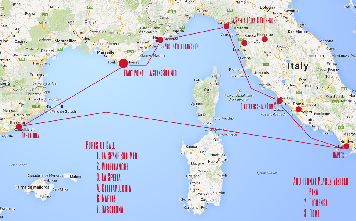 A Map Of My Cruise Itinerary Route